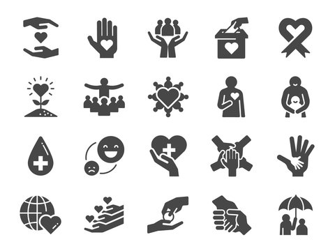 Charity icon set. Included icons as kind, care, help, share, good, support and more.