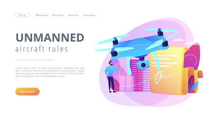 Businessman with drone reading document with regulations. Drone flying regulations, drone use limitations, unmanned aircraft rules concept. Website vibrant violet landing web page template.