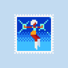Cute abstract cheerleader girl, vintage postmark template pixel art icon, poster, picture. Design for logo, sticker and mobile app. Сartoon flat style. Isolated vector illustration.