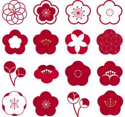 正月 梅 花 梅紋 紋 アイコン ワンポイント 花 3月 新年 日本