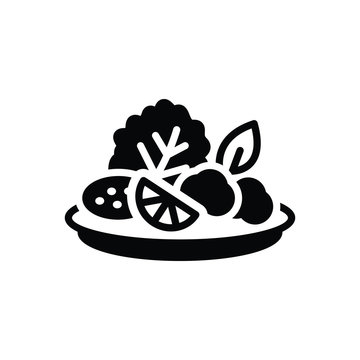 Black solid icon for salad
