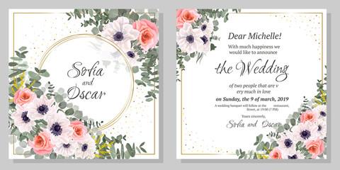 Invitation flower rose and anemone