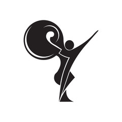 Black and white silhouette of a dancing couple in vector. Monochrome logo for dance Studio. Latin, ballroom dancing. Label, sign, sticker.