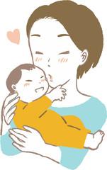 お母さんと赤ちゃん キス