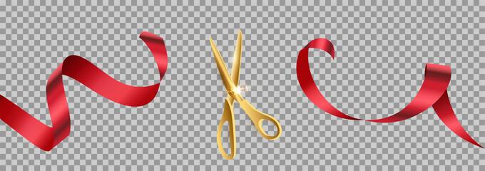 Golden scissors cut red ribbon realistic illustration Wall mural