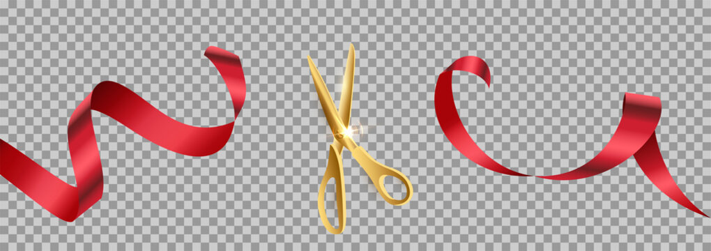 Golden scissors cut red ribbon realistic illustration