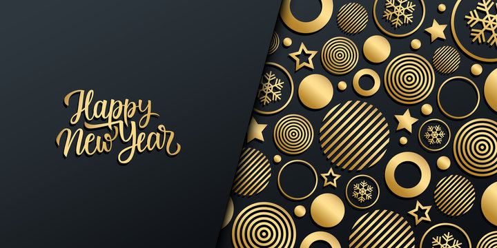 New Year luxury holiday banner with gold handwritten inscription Happy New Year and gold colored christmas balls, stars and snowflakes. Vector illustration.