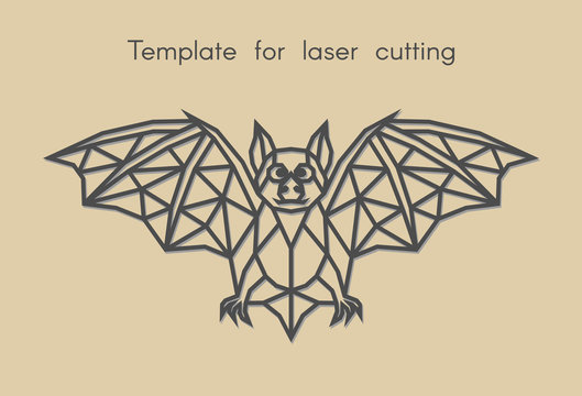 Template animal for laser cutting. Abstract geometric bat for cut. Stencil for decorative panel of wood, metal, paper. Vector illustration.