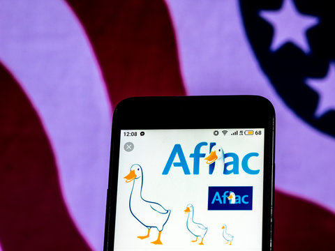 Kiev, Ukraine, December 17, 2018, illustrative editorial. Aflac Insurance company logo seen displayed on smart phone