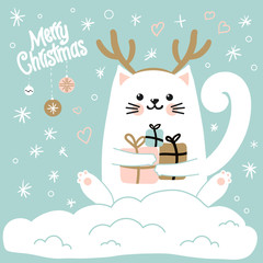 Cute cat with a hat with deer horns. Christmas vector illustration .Christmas card.