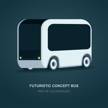 Futuristic bus. Future city bus concept vector illustration. Future electric transport.