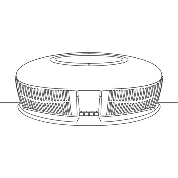 Continuous one line drawing stadium arena concept