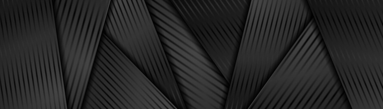 Abstract black glossy corporate graphic banner design with smooth lines. Geometric tech background. Vector web header illustration