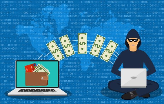 Cyber thief, internet scammer. Thief steals money from online wallet, credit card. Poster for web page, banner, presentation, social media. Vector illustration in flat style