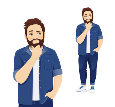 Handsome man in casual clothes thinking isolated vector illustration