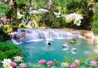 Deurstickers Watervallen 3d background nature wallpaper