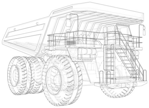 Big mining truck. EPS10 format. Wire-frame style. Vector created of 3d.