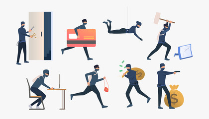 Set of criminals robbing flats. Car burglary, thieves, criminals wearing black clothes. Crime concept. Vector illustration for webpage, landing page - fototapety na wymiar