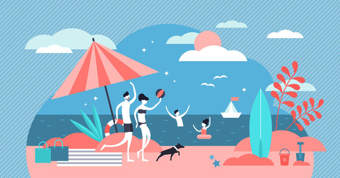 Family at beach vector illustration. Flat tiny summer relax persons concept