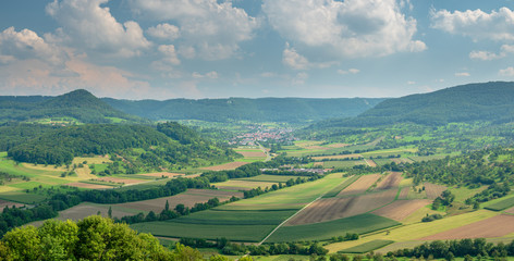 View from Top of the Limburg Mountain down to Weilheim Teck and Neidlingen Landscape which is part of Baden Württemberg area