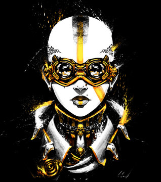 Bald punk girl in jacket and unusual steampunk glasses . 2D Illustration.