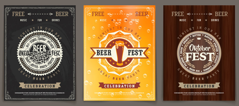 Vector Oktoberfest beer festival celebration template set of retro poster or invitation flyer on vintage background