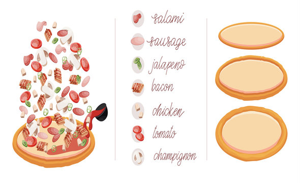 Italian pizza and ingredients. Construct your own pizza with different filling for a cafe or restaurant. Italian food menu design template.