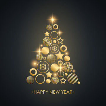 Happy New Year luxury celebrate card with gold new year tree. Golden christmas balls, stars, snowflakes and glowing lights decor. Vector illustration.