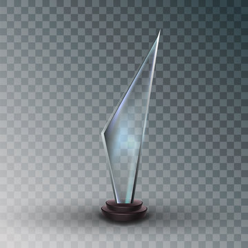 Shiny Glass Trophy Award In Metallic Frame Vector. Concept Of Competitive Glossy Blank Trophy On Plastic Pedestal. Premium Prize For Champion On Competition Mockup Realistic 3d Illustration