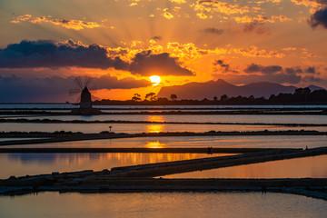 Marsala salt pans at sunset, Sicily, Italy
