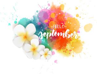 Hello September - floral concept background