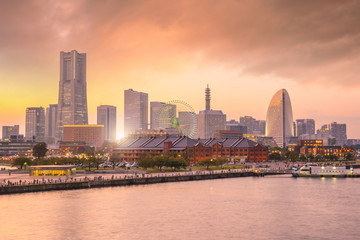 Wall Mural - Yokohama city skyline at sunset