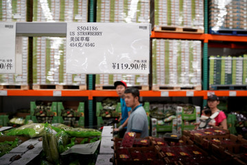 Strawberries imported from the U.S. are seen at a U.S. hypermarket chain Costco Wholesale Corp store in Shanghai,