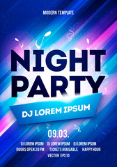 Vector Party Night Flyer Or Banner Design Template With Dynamic Light