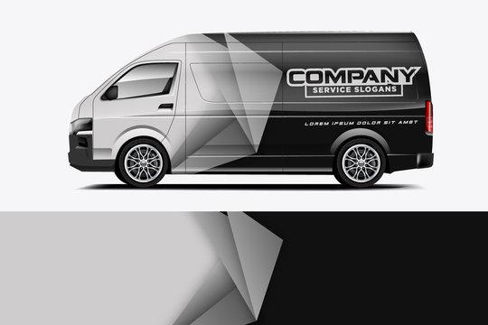 Van Wrap Livery design for company. Ready print wrap design for Van. - Vector