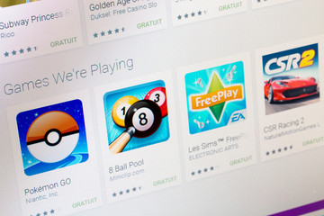 Paris, France - June 14, 2017: Best apps of Games available on Google play. Google Play is a large library offering free or paid applications for mobile phones or tablets