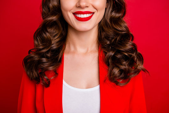 Cropped photo of beautiful lady showing perfect teeth dressed formal-wear jacket isolated burgundy background