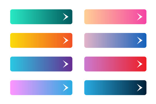 Vector set of modern gradient app or game buttons. User interface web button on rectangular forms with arrows.