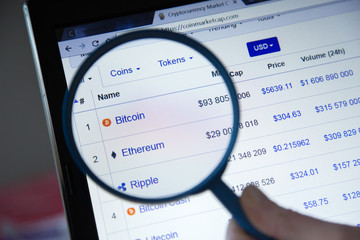 Paris, France - October 19, 2017 : Closeup with magnifying glass on crypto currencies with many new virtual currencies. Ethereum , Ripple , Bitcoin, Bitcoin Cash are the most popular