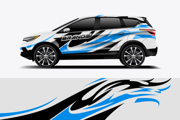 Fototapete - Car decal wrap design vector. Graphic abstract stripe racing background kit designs for vehicle, race car, rally, adventure and livery - Vector