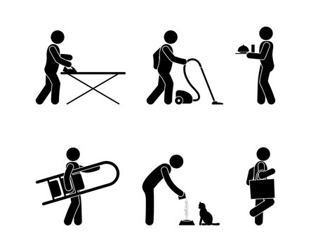 housework icon set, stick figure pictograms, people do household chores, cleaning and caring for pets, isolated human silhouettes