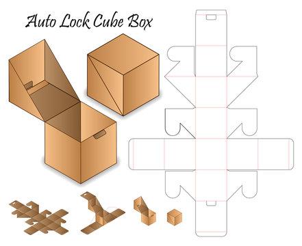 Auto Lock Box packaging die cut template design. 3d mock-up
