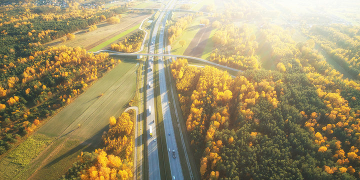 Drone view of highway in autumn scenery