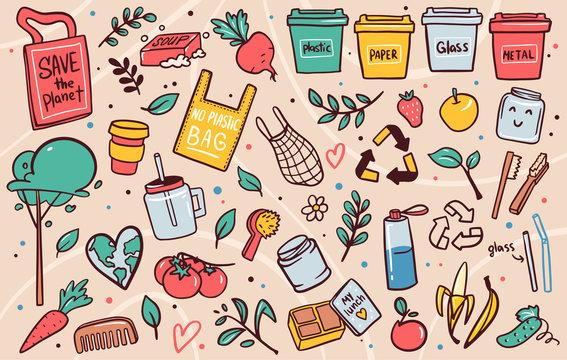 Zero waste lifestyle flat vector illustrations set