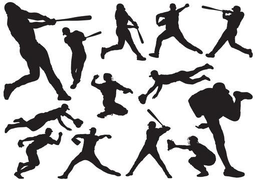 野球 シルエットイラストセット
