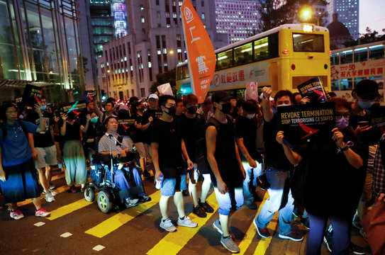 Rally held by the Hong Kong Confederation of Trade Unions after a number of crew members in the aviation industry were let go for joining the anti-extradition bill protests, in Hong Kong