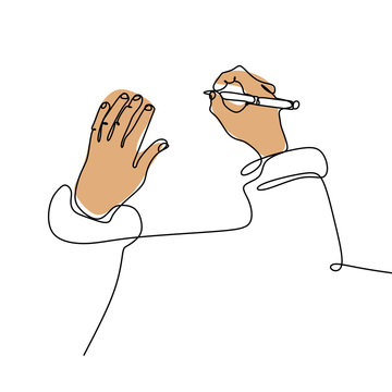 Continuous line drawing of hand writing with a pen on paper vector illustration hand drawn minimalism