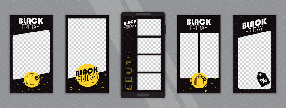 """Trendy editable template for social media. Photo overlay with """"black friday"""" theme. Everything built on layers and editable shapes."""