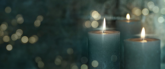 Candels and golden bokeh Wall mural