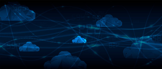 Wall Mural - Cloud technology. Integrated digital web concept background